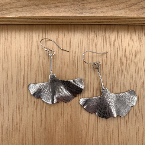 Ginkgo Leaf Silver Earrings