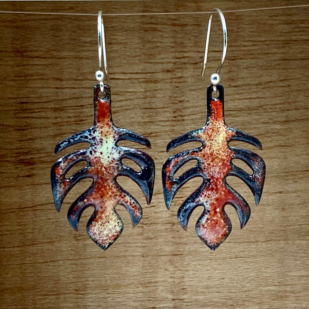 Enamel Fire Orange Leaf Earrings