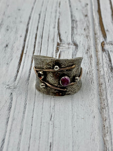 Silver Cuff with Pink Sapphire and Garnet Ring
