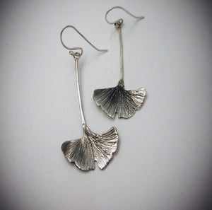 Silver Ginkgo Leaf Earrings