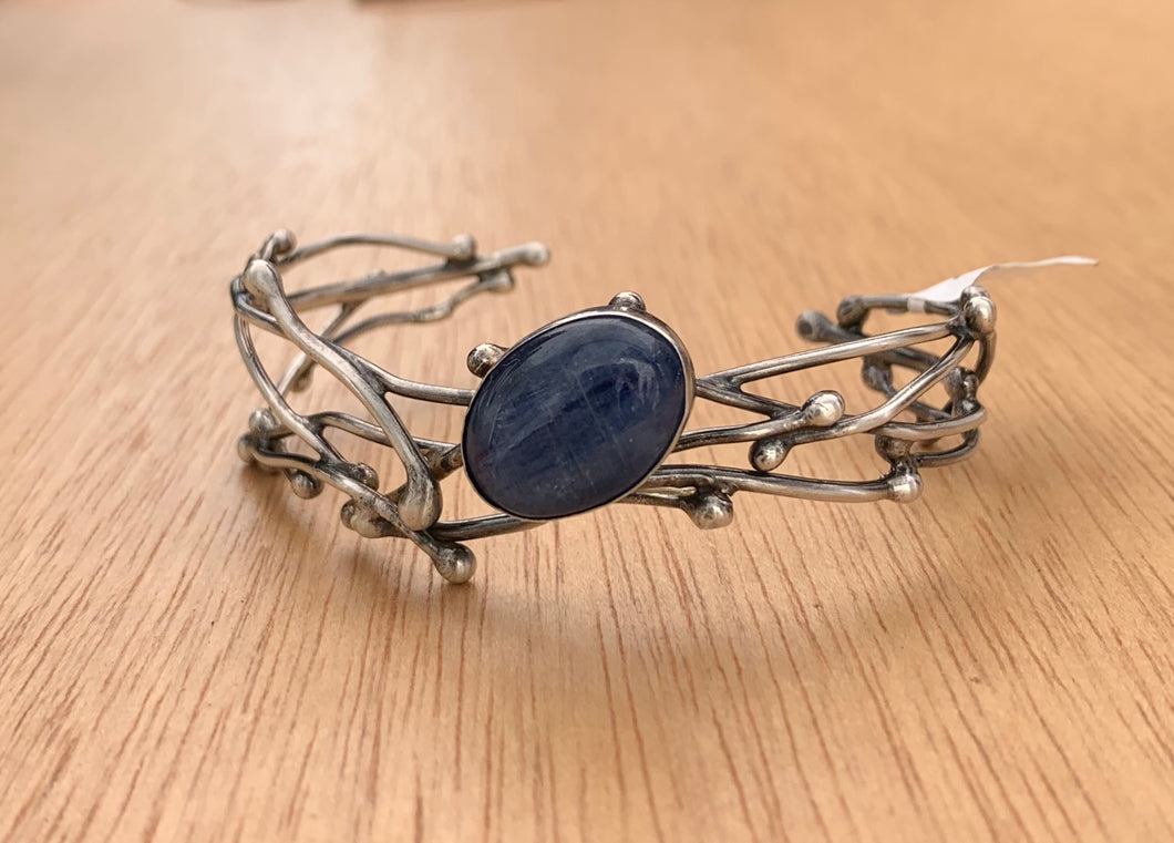 Silver Twig Cuff Bracelet with Kyanite