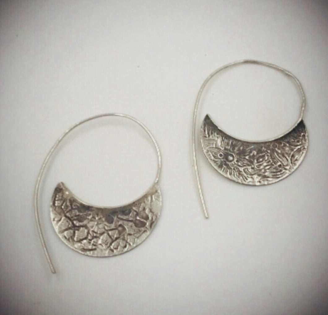 Silver Antiqued Half Moon Earrings