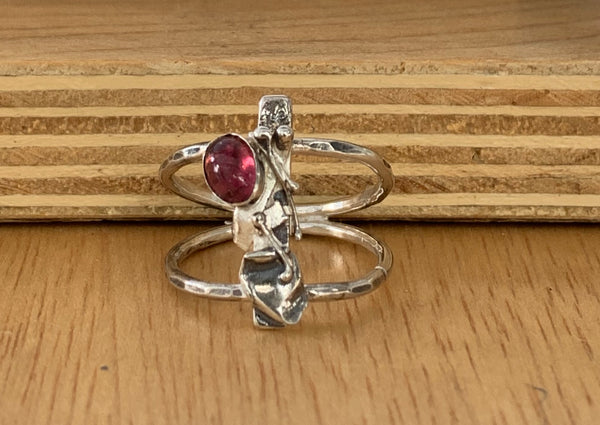 Pink turmaline silver band ring