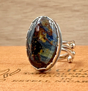Pietersite Sterling  silver ring.