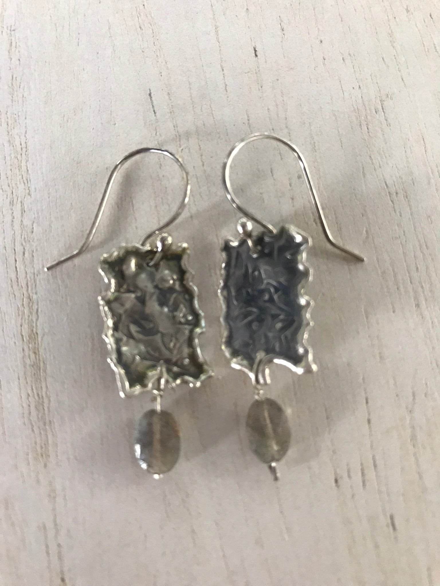 Sterling silver earrings with Laboradite