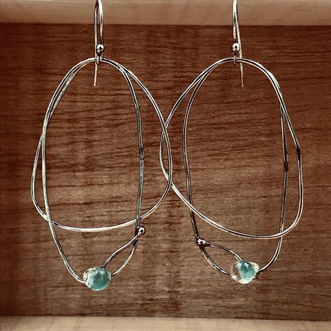 Copy of Rustic Hoop Earrings with Aqua Glass Drop