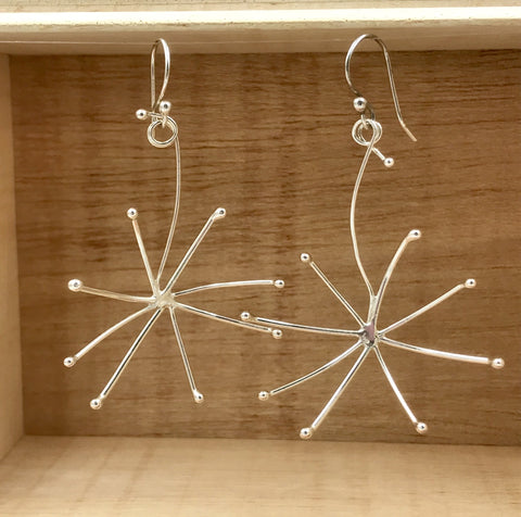 Dandelion Silver Earrings