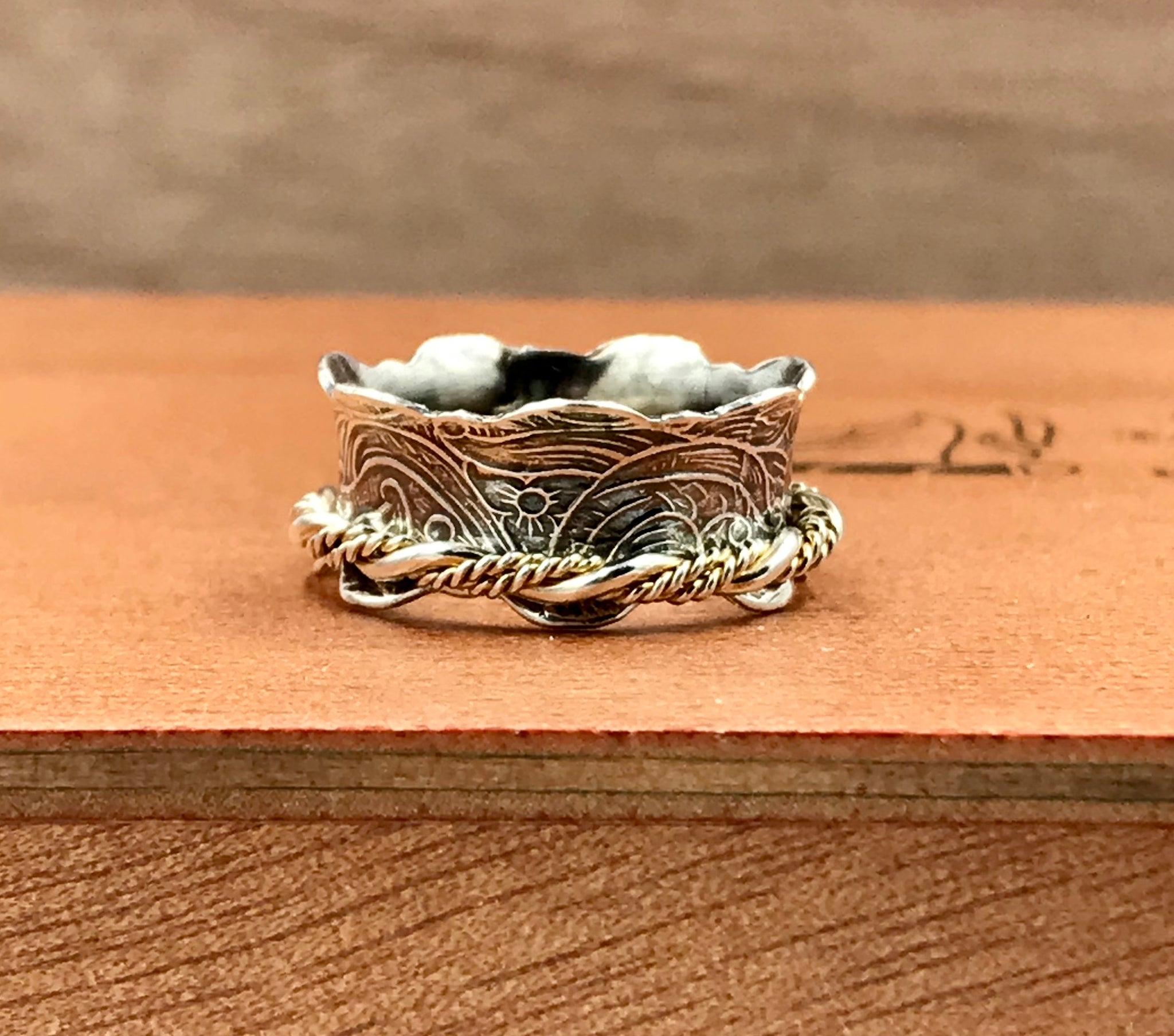 Spinner Ring with Twisted Sterling Spinner Band
