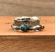Load image into Gallery viewer, Spinner Ring with Blue Turquoise and Onyx with Brass nuggets