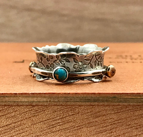 Spinner Ring with Blue Turquoise and Onyx with Brass nuggets