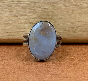 Blue Agate Gemstone Silver Ring