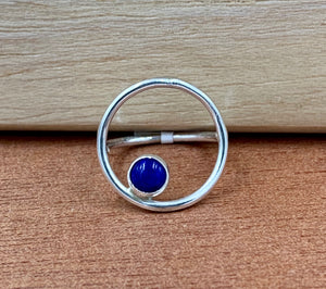 Olivia Silver Ring with Blue Lapis