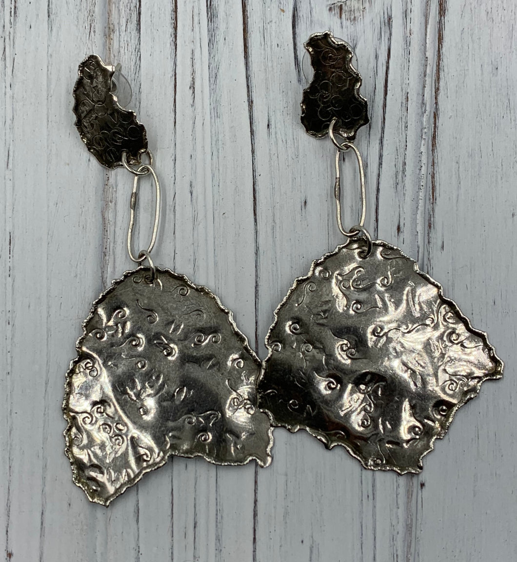 Large Silver earrings with torch edge