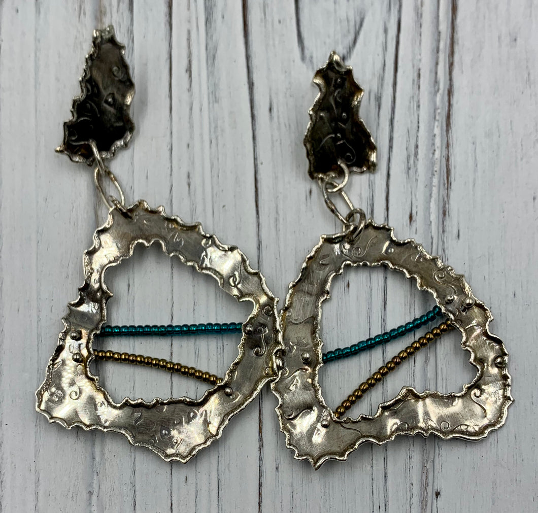 Silver window pane earrings with beads