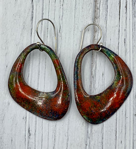 Large Red and Green Enamel Earrings