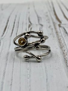 Silver Twig with Citrine