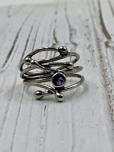 Silver Twig with Amethyst
