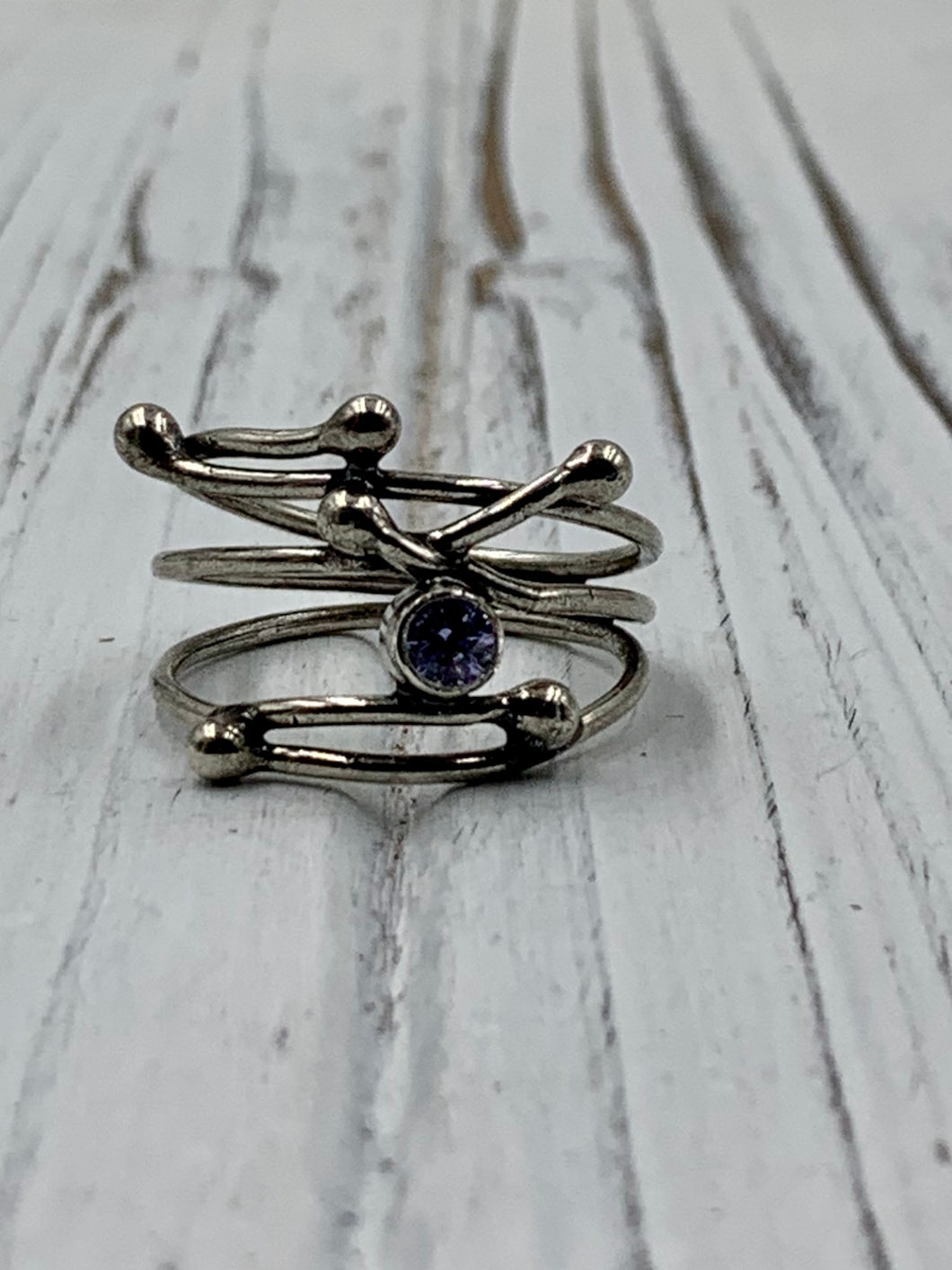 Silver Twig with Lavender CZ