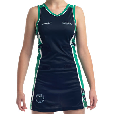 Gazelles Netball Club sublimated netball dress by Valour Sport - front view zoomed