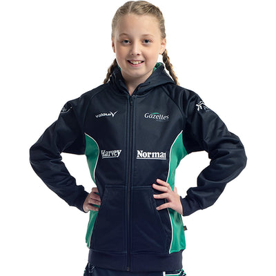 Gazelles Netball Club fleece lined zip front hoodie by Valour Sport - front view