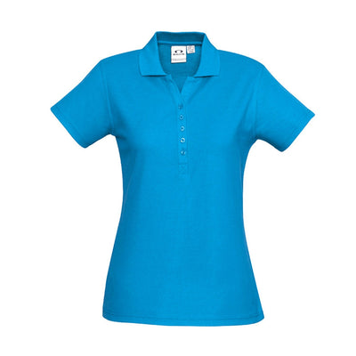 The perfect classic polo for your ladies crew - the Biz Collection Ladies Crew Polo in Cyan