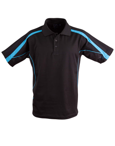 Legend Mens Polo in Black with Aqua highlights