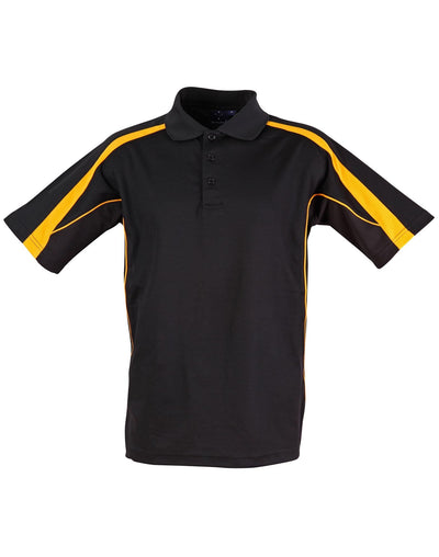Legend Mens Polo in Black with Gold highlights