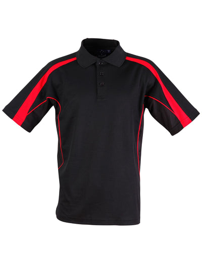 Legend Mens Polo in Black with Red highlights
