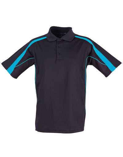 Legend Mens Polo in Navy with Aqua highlights