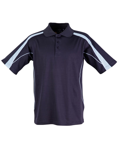 Legend Mens Polo in Navy with Sky Blue highlights