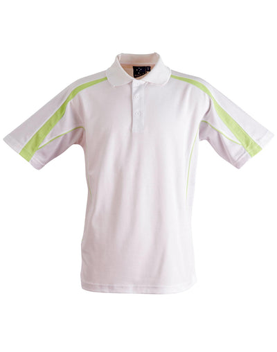 Legend Mens Polo in White with Light Green highlights