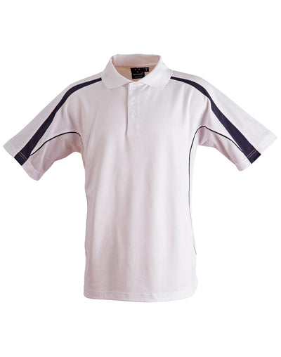 Legend Kids Polo in White with Navy highlights