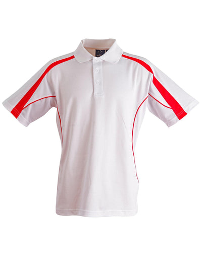 Legend Kids Polo in White with Red highlights