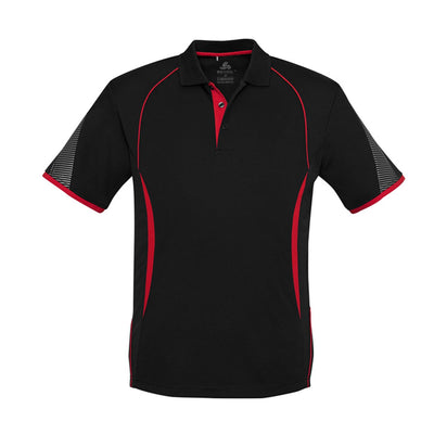 Kids Razor Polo in black with red detailing