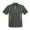 Kids Razor Polo in grey with fluro green detailing