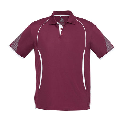 Kids Razor Polo in maroon with white detailing