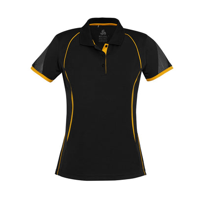 Ladies Razor Polo in black with gold detailing