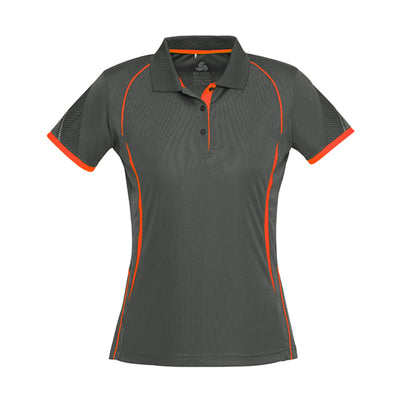 Ladies Razor Polo in grey with orange detailing