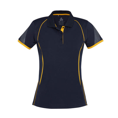 Ladies Razor Polo in navy with yellow detailing