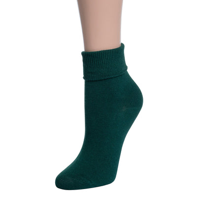Valour Sport Cotton School Socks, sold in a 3-pack - Brunswick Green roll top sock