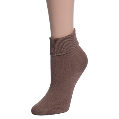 Valour Sport Cotton School Socks, sold in a 3-pack - Fawn roll top sock