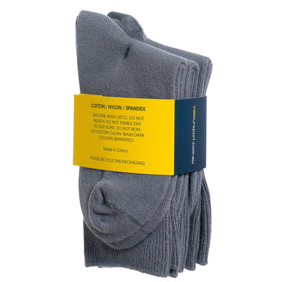 Valour Sport Cotton School Socks, sold in a 3-pack - Grey fabric composition on packaging
