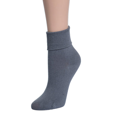 Valour Sport Cotton School Socks, sold in a 3-pack - Grey roll top sock