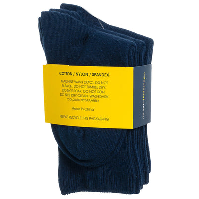 Valour Sport Cotton School Socks, sold in a 3-pack - fabric compsition
