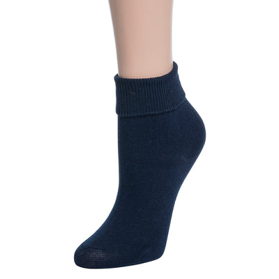 Valour Sport Cotton School Socks, sold in a 3-pack - Navy roll top sock