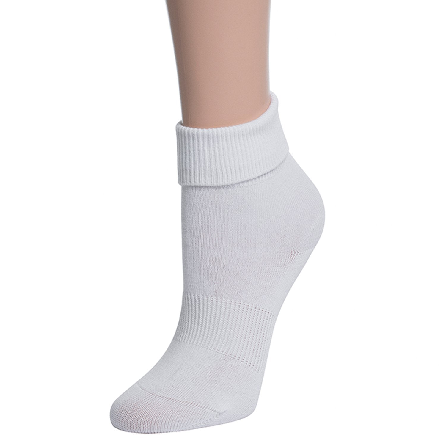 Valour Sport Cotton School Socks, sold in a 3-pack - White Roll Top