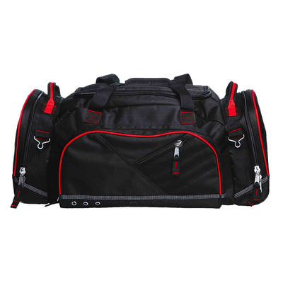 Recon is the ultimate sports kit bag that's constructed to endure the roughest conditions - black and red