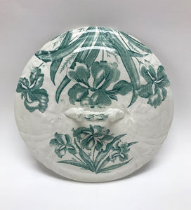 Green and White Antique Chamber Pot Lid