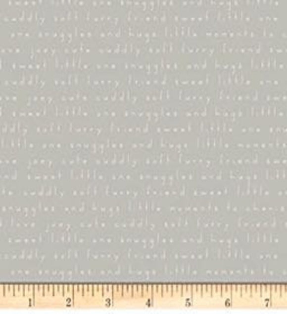 Joey - words gray (100% Cotton, Sold 1/4m Increments)