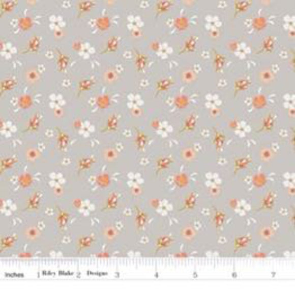 Gray Golden Days Floral (100% Cotton, Sold 1/4m Increments)